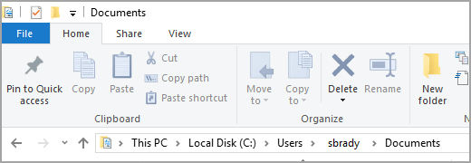 Location of the default Documents folder