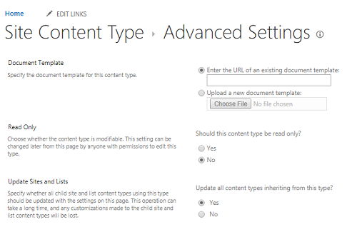 Enter the URL for Document Template in Site Content Type: Advanced Settings page