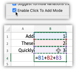 Screen shot showing the Click To Add Mode preference and a few cells with a simple formula adding some of the cells.