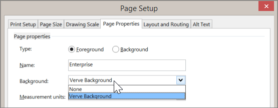 Screenshot of Page Setup > Page Properties with Verve Background selected from the Background drop down
