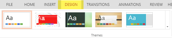 Design themes are on the Design tab of the ribbon