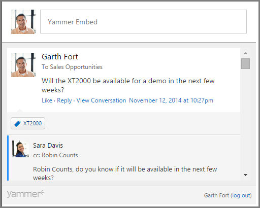 Screenshot of Yammer Embed