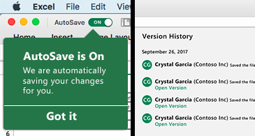 Excel ribbon with the AutoSave bubble on the left  and a version history list on the right