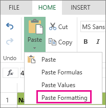 Paste Formatting option