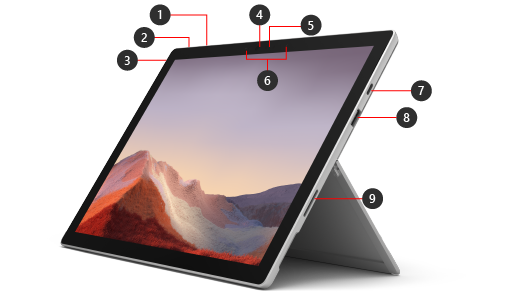 The front of a Surface Pro 7+ device with numbers indicating the hardware features.