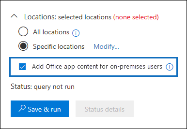 """The """"Add Office app content for on-premises users"""" checkbox is added to the Content Search UI"""