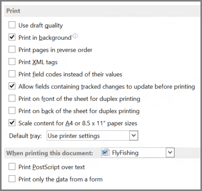 Word 2013 print options