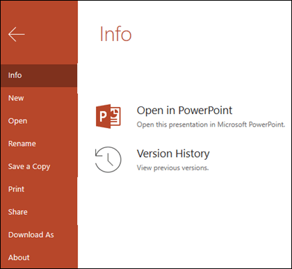 The Info tab of Office Online showing the Version History item.