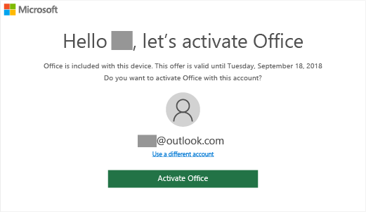 "Shows ""Let's activate Office"" screen that indicates Office is included on this device"