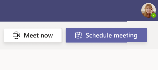 Screenshot of the meet now button in Teams for Free