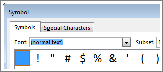 The Symbol box in Word