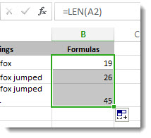 Entering mulitple LEN functions in a worksheet