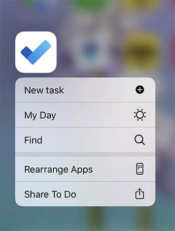 To Do Quick Action menu is open with the option to add New task, add to My Day or Find a task