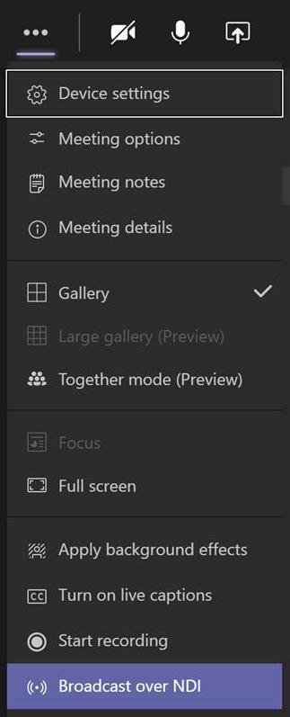 Team-Broadcast over NDI menu option