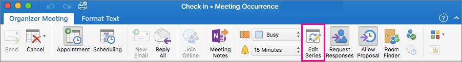 Organizer Meeting tab with Edit Series highlighted