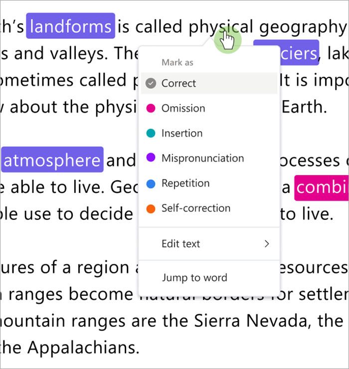 Screenshot of the dropdown that categorizes errors, you can mark errors as correct, omission, insertion, mispronunciation, repetition, or self-correction.
