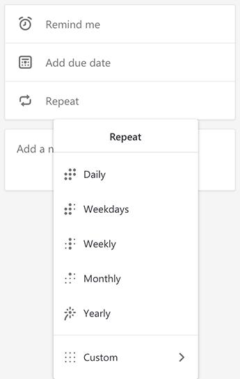 Screenshot showing the Repeat menu