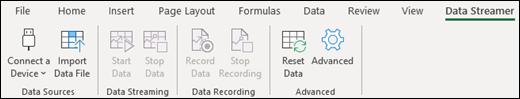 Data Streamer add-in on Excel ribbon menu