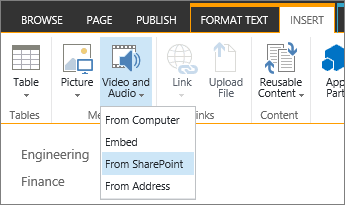 Insert Video menu with SharePoint selected