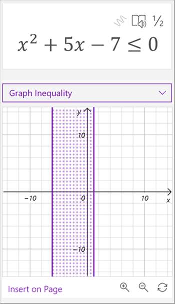 screenshot of math assistant generated graph for the inequality x squared plus 5x - 7 is less than or equal to 0. a shaded area between two vertical lines is shown on the graph