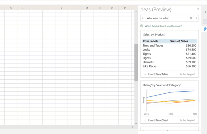 Image showing the natural language query ability in Excel for Windows 32 desktop Insiders fast builds.