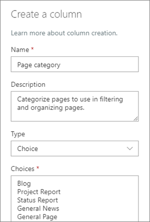 Example of setting up a category choice column for blogs