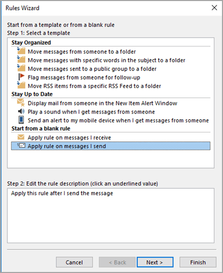 Select Apply rule on messages I send