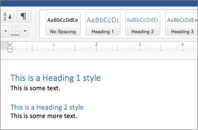 Examples of Heading 1 and Heading 2 styles in a document