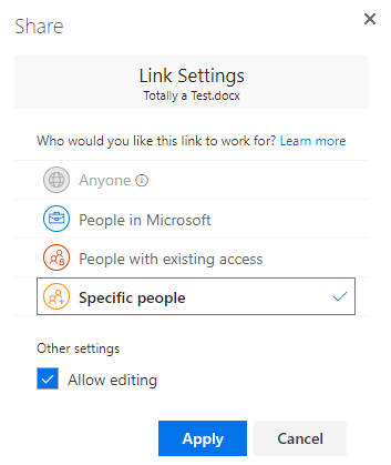 Use the link settings dialog to specify permissions for a sharing link
