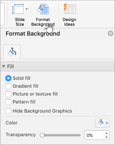 Settring the background format