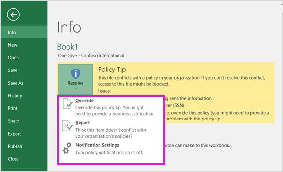 Options on policy tip in Backstage in Excel 2016