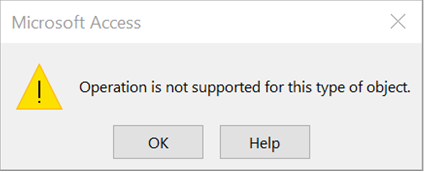 Operation is not supported for this type of object