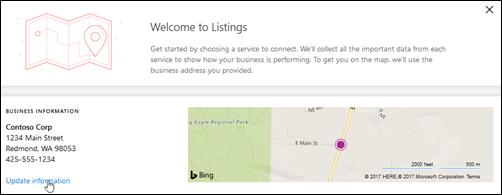 Screenshot: Update business profile on Microsoft Listings dashboard