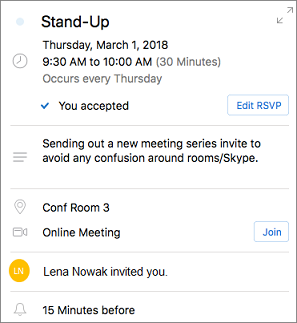 Card with meeting details