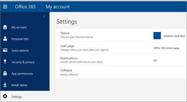 Office 365 Settings page