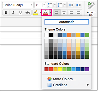 Font color picker in Outlook for Mac