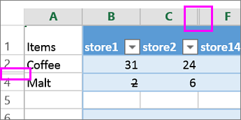 Double bar on column or row headers indicate hidden columns or rows