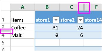 Double bar on column or row headers indicate hidden columns or rows