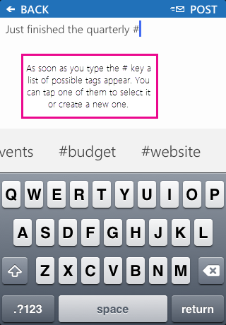 Screenshot of adding a hashtag (#) to a post in the SharePoint Newsfeed app