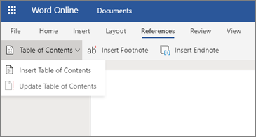 Word document with Table of Contents options shown