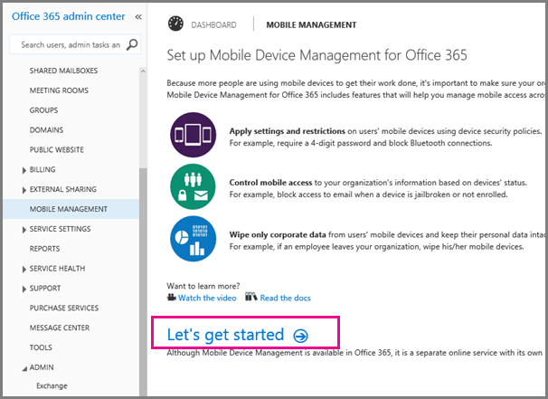 Set up mobile device management mdm in office 365 office 365 - Office for mobile devices ...