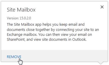 Remove a site mailbox.