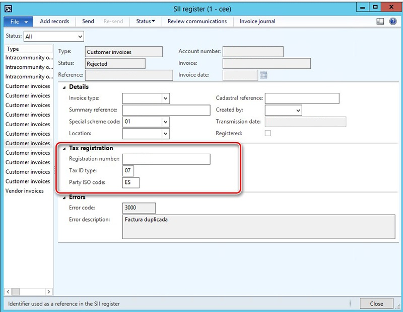 This image shows how to add the Tax registration tab on the SII register form.