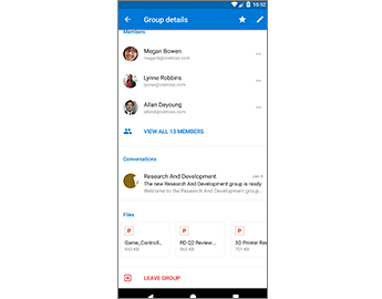 Group Details page giving easy access to files