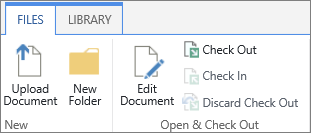 The cluster of buttons under the Open & Check Out section of the FIles ribbon