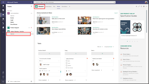 Image of the general channel in Microsoft Teams