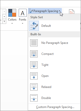 Screenshot of the Design tab in Word, showing the Paragraph Spacing menu.