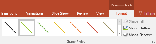 Shows line Quick Styles in Office