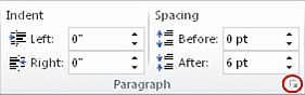 Paragraph group on the Page Layout tab