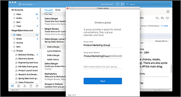 Inbox in they background and Create a group dialog box in the foreground